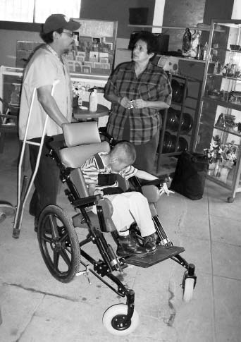 Here we adapt and condition a wheelchair for whatever handicaps the person has.
